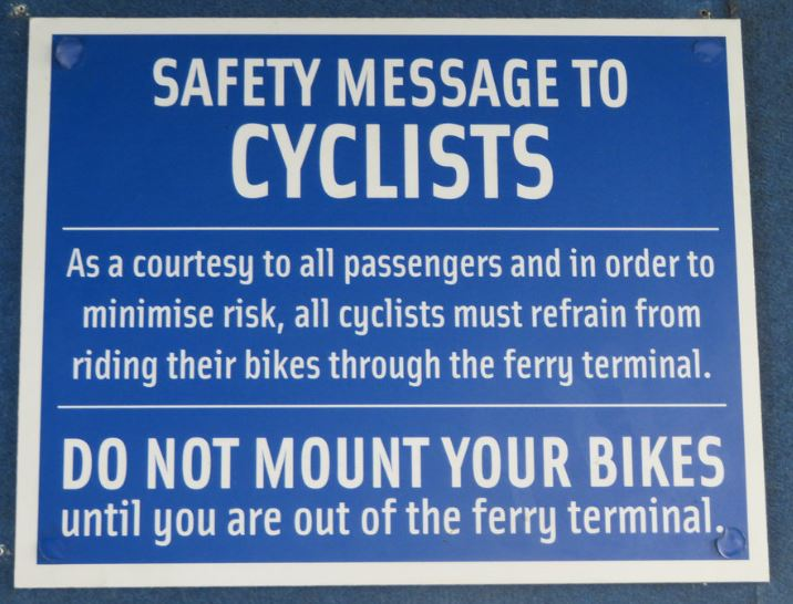 Safety message to cyclists
